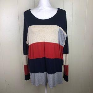 Pinkblush striped Long sleeve cotton top M